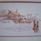 Cross Stich Pattern Harbor Scene Fishing Dock Seagulls Color Chart