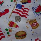 1 Cent USA S&H 1997 Daisy Kingdom Cotton Fabric Summer Picnic 4th Of July All Over Toss