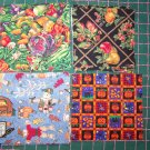 15 Mixed Lot Cotton Fabric Fall Vegetable Harvest Scarecrow Halloween