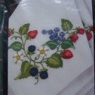 Set of Four 1997 Summer Berries Napkins Embroidery Needlework Bucilla Craft 41769
