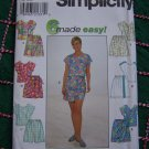 Simplicity 8039 Sewing Pattern Misses Summer Wardrobe Scrub Tops Shorts Sarong Tie Skorts 6 8 10