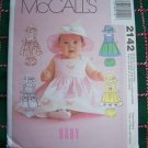 Infant Sewing Pattern Sundress Hat Panties Diaper Cover McCall&#39;s 2142 Sz S M L XL