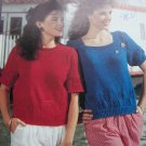 80's Vintage Misses Knitting Patterns Lace Check Tulips 2 Short Sleeve Summer Tops 1 Cent USA S&H