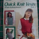 1 C USA S&H Vintage 80's Quick Knit Vests Patterns Cable Block Yoke Triangle Vest Leaflet S M L