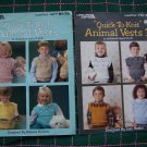 Childrens 2 4 6 8 Knitting Patterns 3 D Animal Yoke Knitted Vests Front And Back