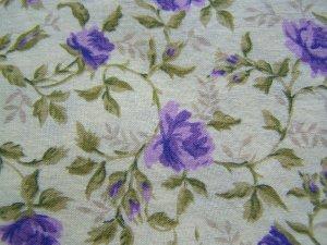 Vintage Cotton Fabric Chanteclaire Floral Print Light Yellow w/ Purple Roses