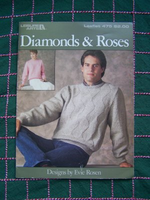 1 Cent USA S&H Vintage Knitting Patterns Mens Diamond & Womens Roses Pullover Sweaters