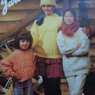 Vintage Knitting Patterns Misses & Girls Aran Pullover Sweaters & Hat E731