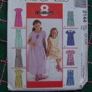 1 Cent USA Shipping Girls 4 5 6 Dress Sewing Pattern Front Tucks Back Ties 2144