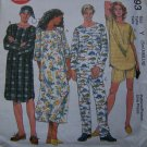 $1 S&H USA Unisex His Hers 2 Hour Sewing Pattern Pjs Nightshirt Top Pull on Pants Hat 9093