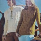 70's Vintage Misses Mens Fisherman Knits Knitting Patterns Columbia Minerva 2534