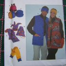 Simplicity 8394 S M L Unisex Outerwear Fleece Velour Vest Hat Scarf Backpack Mittens
