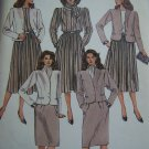Vintage Misses Bust 34 Suit Sewing Pattern Jacket Blouse Pleated or Straight Skirts Scarf 9197