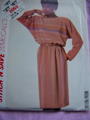$1 USA S&H Misses VIntage Pullover Dress Sewing Pattern Dolman Sleeves Elastic Waist 2063
