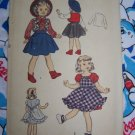 40's Doll Clothing Sewing Patterns Advance 5665 Cowgirl Outfit Apron Dolls Dress 15""