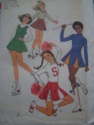girls 10 12 vintage sewing pattern cheerleader amp ice