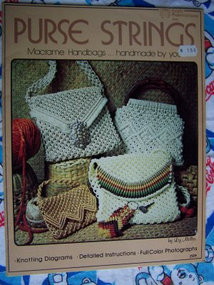 Free USA S&H Vintage 70's Macrame Patterns Purse Strings 15  Handbags