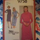 80's Vintage Knit Dress Sewing Pattern 9758 Pullover Slim Short or Long Sleeves 14 16 18