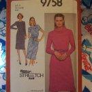 80's Vintage Knit Dress Sewing Pattern 9758 Pullover Slim Short or Long Sleeves 14 16 18