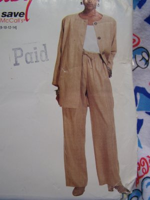 Vintage McCall's Sewing Pattern 7474 Misses Unlined Jacket Top Drawstring Pants 8 10 12 14