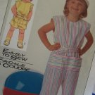 80's Girls Jumpsuit Capri Pants Shorts Sz 4 5 Easy To Sew Simplicity Vintage Sewing Pattern 7410
