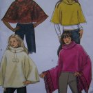 Misses Poncho Sewing Pattern 4612 Fringe Fur Pompons Lined Hood Collar Sz 4 - 14