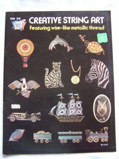 1970's Metallic Thread Creative String Art Patterns Book 14 DIY Designs