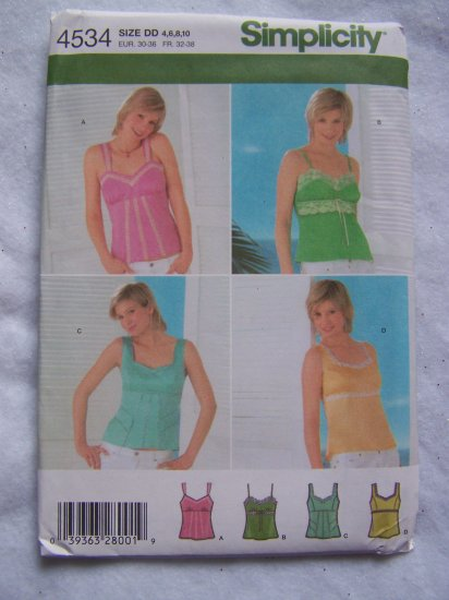 Simplicity Sewing Pattern 4534 Misses Cotton Camisole Summer Tops 4 6 8 10