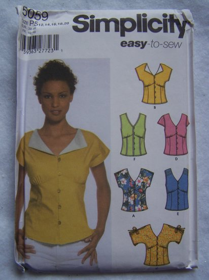 1 Cent USA S&H Simplicity Sewing Pattern 5059 Misses Summer Shirts 12 14 16 18 20