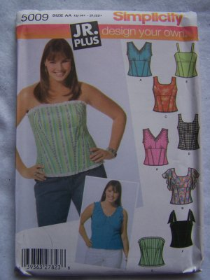 Jr Plus Girls Simplicity Sewing Pattern 5009 Design Your own Summer  Corset Tops 13 - 22