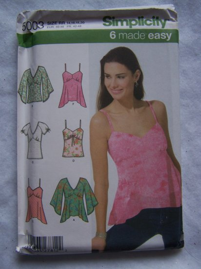 USA 1 Cent S&H Simplicity Sewing Pattern 5003 Misses 14 16 18 20 6 Summer Tops