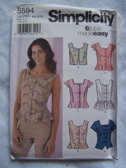 6 Easy Misses Sewing Patterns 5594 Peplum Summer Sun Shirts Vest 14 16 18 20