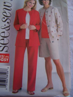 Butterick Sewing Pattern 4165 Misses 14 16 18 Suit Set Jacket Top Shorts Pants