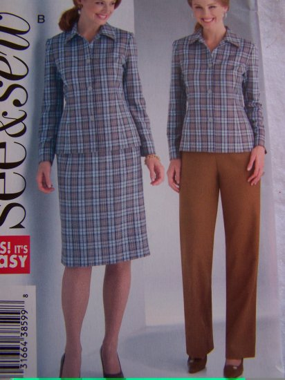 Butterick Easy Sewing Pattern 4269 Misses 12 14 16 Suit Set Jacket Slim Skirt Pants