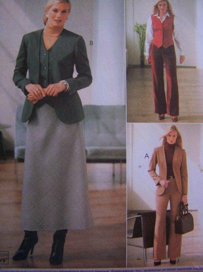 McCalls Sewing Pattern 4200 Misses Suit 12 14 16 18 Lined Jackets Vest Pants Bias Skirt