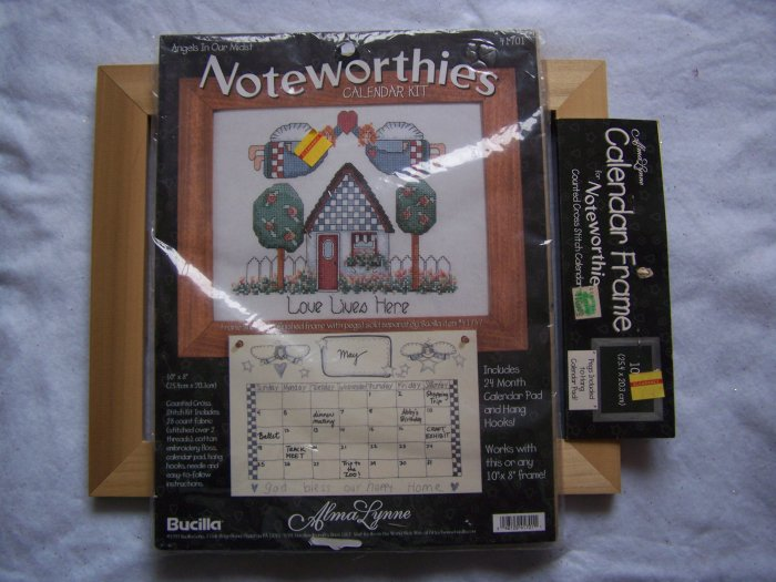 Bucilla Noteworthies Angels in Our Midst Counted Cross Stitch Calendar Kit with Wood Peg Frame
