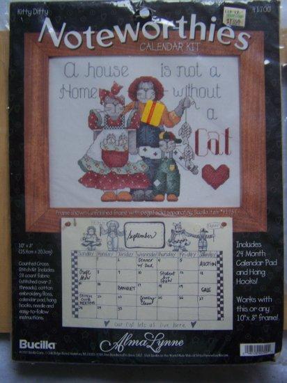 Alma Lynne Bucilla Counted Cross Stitch Calendar Kit  Kitty Ditty w/ Wood Peg Frame