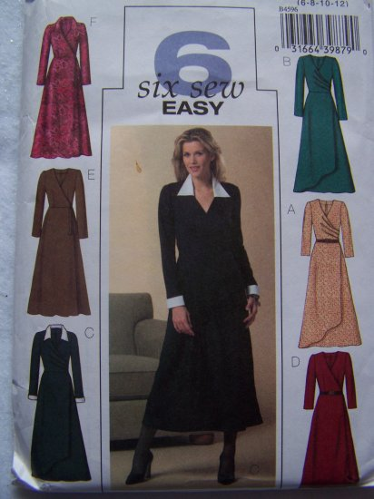 Misses Mock Wrap Dress Sewing Pattern Butterick 4596 Sz 6 8 10 12