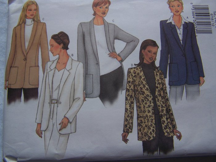 Free USA S&H Misses 12 14 16 Sewing Pattern 6718 Classic Blazer Jacket