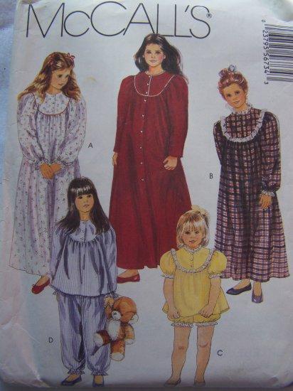 Girls 12 14 Sewing Pattern Nightgown Pajamas Pjs Babydoll McCalls 5673