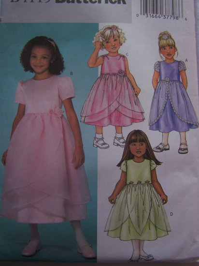 Girls 6 7 8 Butterick Sewing Pattern 4115 Holiday Flower Girl Dress Sheer Organza Tulip Overskirt