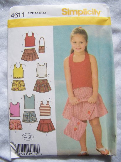 Simplicity Sewing Pattern 4611 Girls 3 4 5 6 Summer Cotton Skirts & Shorts Knit Tops 1 Halter