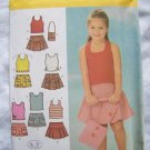 Girls 5 6 7 8 Simplicity Sewing Pattern 4611 Spring Cotton Shorts Skirts Knit Tops Halter