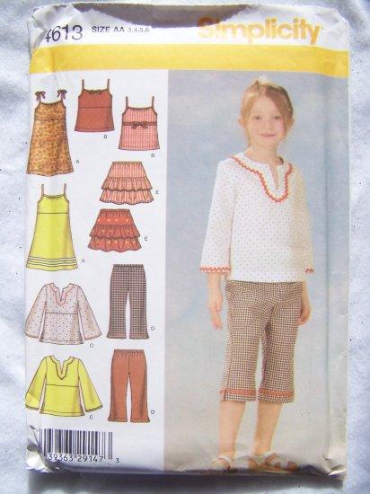 Simplicity Sewing Pattern 4613 Girls 3 4 5 6 Sundress Strap Shirts Ruffle Skirt Capri Pants