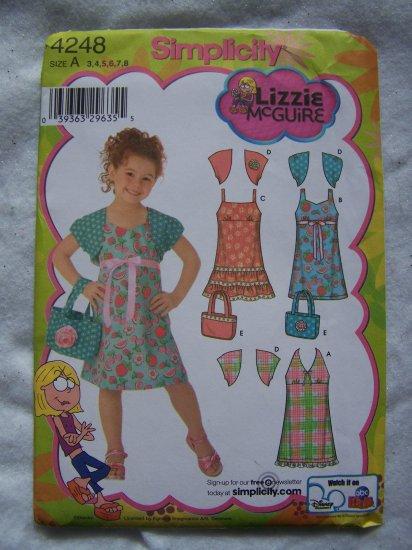 Lizzie McGuire Simplicity Sewing Pattern 4248 Girls Dress Strap Sundress Halter Tie Bolero Purse