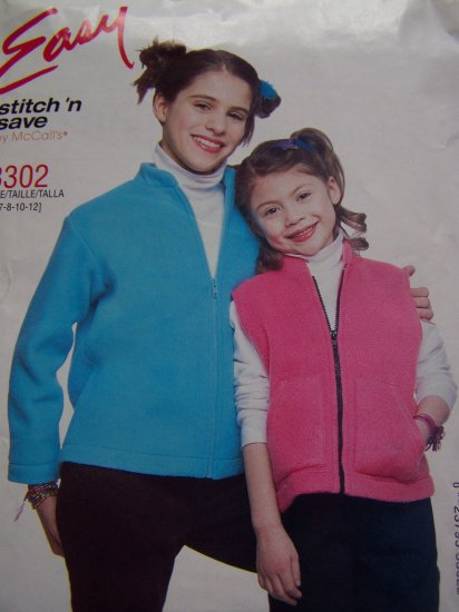 Easy McCalls Sewing Pattern 3302 Children's Girls Vest Jacket Shirt Zip Front 7 8 10 12