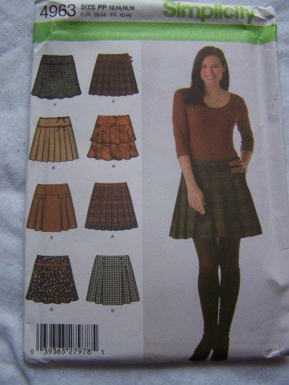 Uncut 8 Mini Skirt Sewing Patterns Simplicity 4963 12 14 16 18