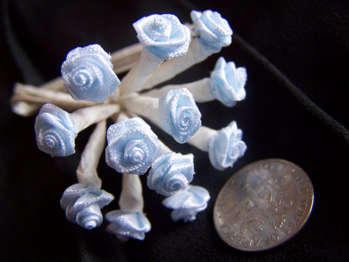 144 New 3/8 Baby Blue Ribbon Roses Metal Wire White Stems Floral Crafting