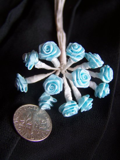 Pastel Aqua Teal New Ribbon Roses 144 White Metal Wire Stems New