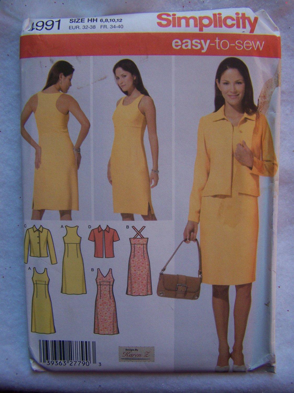 Uncut Simplicity Sewing Pattern 4991 Misses 6 8 10 12 Easy Summer Dresses & Jacket
